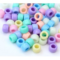 Opaque Pastel Acrylic Beads, Color Mix, 8x6mm Pony, 50 Gram Bag