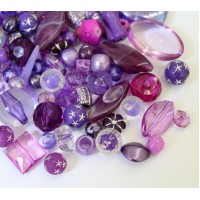 Acrylic Beads, Purple Mix, Various Sizes and Shapes