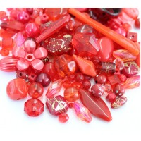 Acrylic Beads, Red Mix, Various Sizes and Shapes, 50 Gram Bag