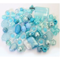 Acrylic Beads, Light Blue Mix, Various Sizes and Shapes