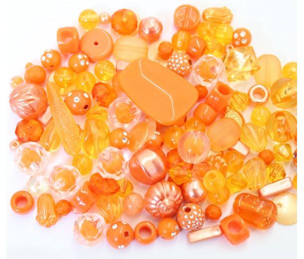 Acrylic Beads, Citrus Mix, Various Sizes and Shapes, 50 Gram Bag