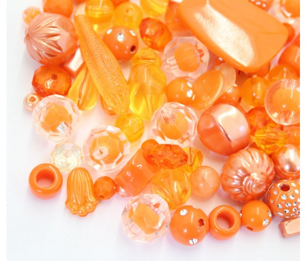 Acrylic Beads, Citrus Mix, Various Sizes and Shapes, 50 Gram Bag