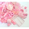 Acrylic Beads, Rose Pink Mix, Various Sizes and Shapes