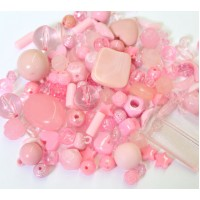 Acrylic Beads, Rose Pink Mix, Various Sizes and Shapes, 50 Gram Bag