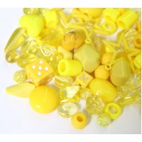 Acrylic Beads, Yellow Mix, Various Sizes and Shapes, 50 Gram Bag