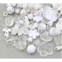 Acrylic Beads, White Mix, Various Sizes and Shapes, 50 Gram Bag