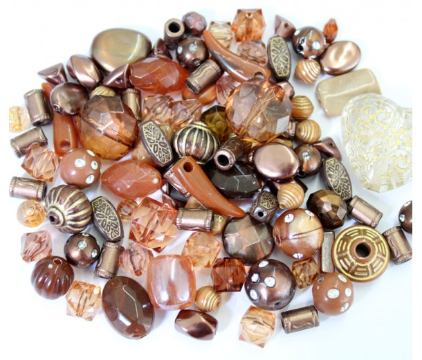 Acrylic Beads, Brown Mix, Various Sizes and Shapes, 50 Gram Bag