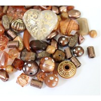 Acrylic Beads, Brown Mix, Various Sizes and Shapes