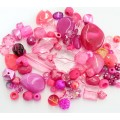 Acrylic Beads, Hot Pink Mix, Various Sizes and Shapes, 50 Gram Bag