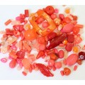 Acrylic Beads, Coral Mix, Various Sizes and Shapes, 50 Gram Bag