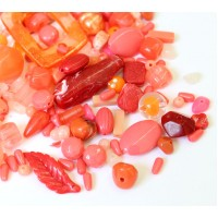 Acrylic Beads, Coral Mix, Various Sizes and Shapes