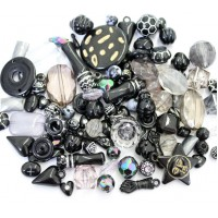 Acrylic Beads, Black Mix, Various Sizes and Shapes