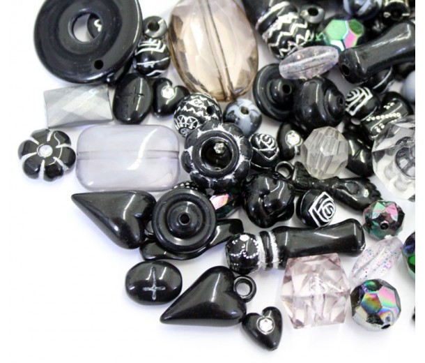 Acrylic Beads, Black Mix, Various Sizes and Shapes, 50 Gram Bag