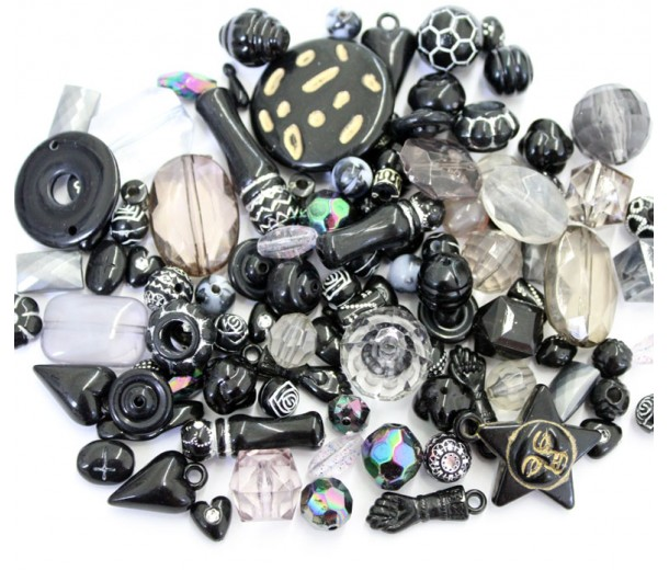 Acrylic Beads, Black Mix, Various Sizes and Shapes, 50 Gram Bag