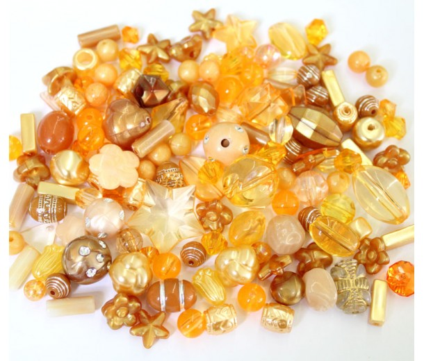 Acrylic Beads, Orange and Brown Mix, Various Sizes and Shapes, 50 Gram Bag