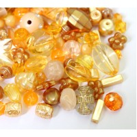 Acrylic Beads, Orange and Brown Mix, Various Sizes and Shapes