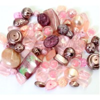 -Acrylic Beads, Blush Pink Mix, Various Sizes and Shapes, 50 Gram Bag