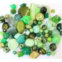 Acrylic Beads, Green Mix, Various Sizes and Shapes, 50 Gram Bag