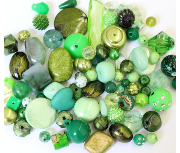 Acrylic Beads, Green Mix, Various Sizes and Shapes