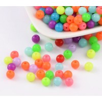 Opaque Colorful Acrylic Beads, Bright Mix, 6mm Round