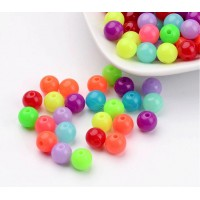 Opaque Colorful Acrylic Beads, Bright Mix, 8mm Round, 50 Gram Bag
