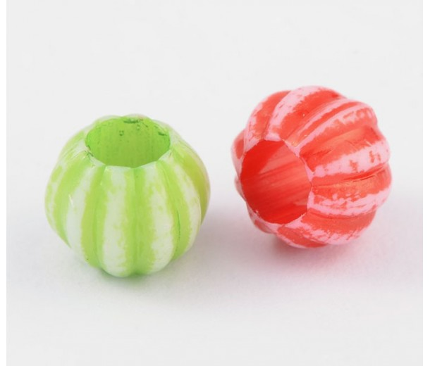 Large Hole Acrylic Beads, Color Mix, 10x8mm Melon Round, Pack of 100