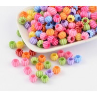 Large Hole Acrylic Beads, Color Mix, 10x8mm Melon Round