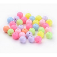 Opaque Pastel Acrylic Beads, Color Mix, 6mm Round, 50 Gram Bag