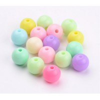 Opaque Pastel Acrylic Beads, Color Mix, 10mm Round