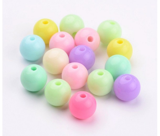Opaque Pastel Acrylic Beads, Color Mix, 10mm Round, Pack of 50