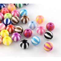 Striped Ball Acrylic Beads, Color Mix, 11mm Round
