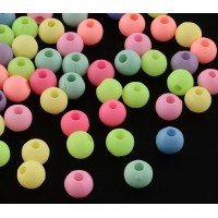 Matte Pastel Acrylic Beads, Color Mix, 6mm Round