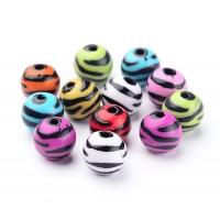 Zebra Striped Acrylic Beads, Color Mix, 11mm Round, Pack of 20