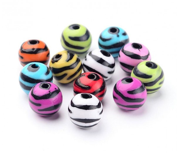 Zebra Striped Acrylic Beads, Color Mix, 11mm Round