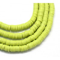 Polymer Clay Beads, Yellowgreen, 7mm Heishi Disk