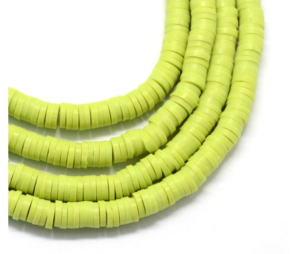 Polymer Clay Beads, Yellowgreen, 6mm Heishi Disk