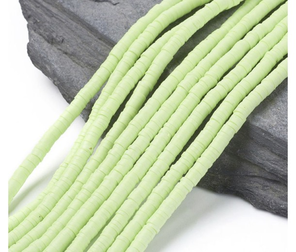 Polymer Clay Beads, Light Green, 4mm Heishi Disk