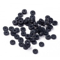 Polymer Clay Beads, Black, 4mm Heishi Disk