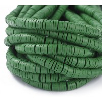 Polymer Clay Beads, Dark Green, 7mm Heishi Disk