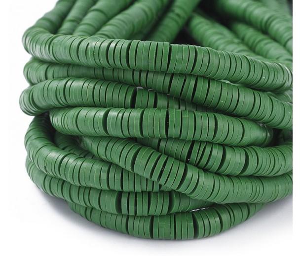 Polymer Clay Beads, Dark Green, 6mm Heishi Disk