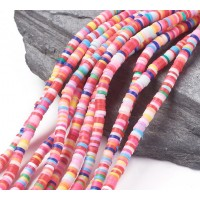 Polymer Clay Beads, Color Mix, 4mm Heishi Disk