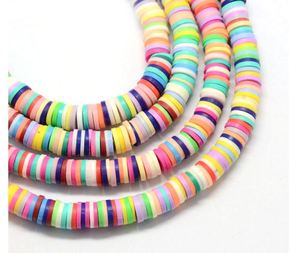 Polymer Clay Beads, Color Mix, 7mm Heishi Disk