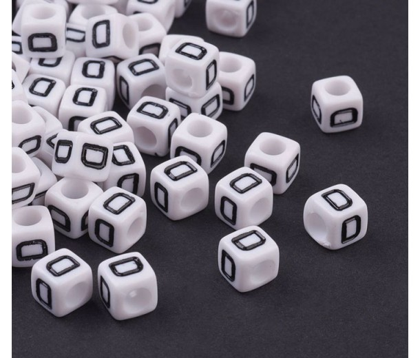 Letter D White Acrylic Beads, 6mm Cube, Pack of 50