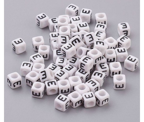 Letter E White Acrylic Beads, 6mm Cube, Pack of 50