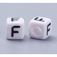Letter F White Acrylic Beads, 6mm Cube, Pack of 50