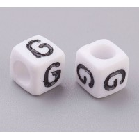 Letter G White Acrylic Beads, 6mm Cube, Pack of 50