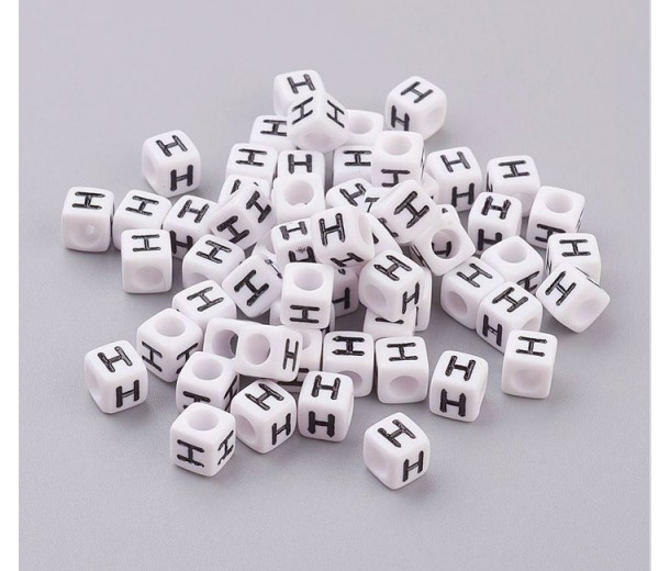 Letter H White Acrylic Beads, 6mm Cube, Pack of 50