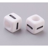 Letter I White Acrylic Beads, 6mm Cube, Pack of 50