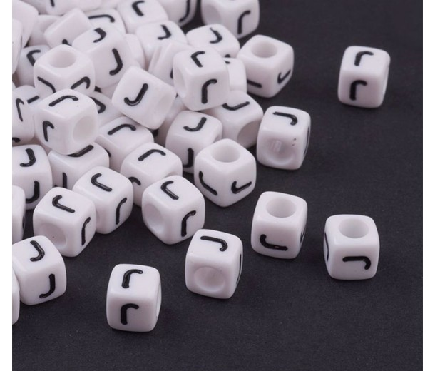 Letter J White Acrylic Beads, 6mm Cube, Pack of 50