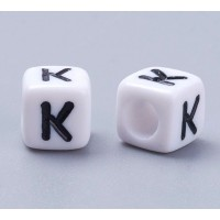Letter K White Acrylic Beads, 6mm Cube, Pack of 50